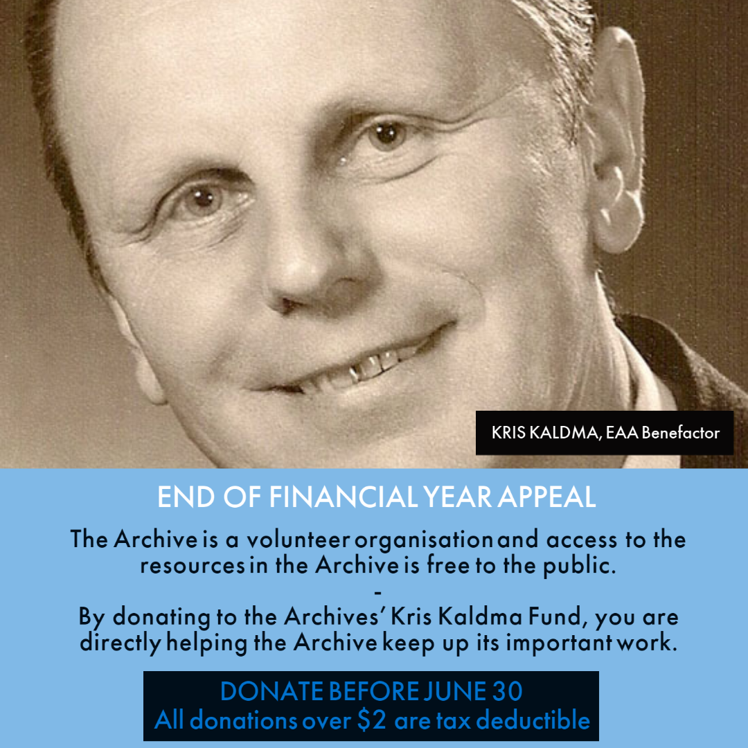 Estonian Archives in Australia - EOFY Appeal