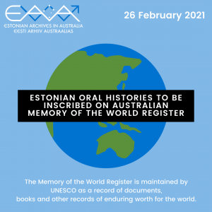 Estonian Oral Histories to be inscribed on Australian Memory of the World Register